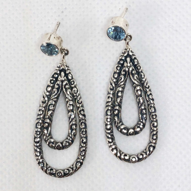 ER 14446 BT-(UNIQUE 925 BALI SILVER FILIGREE EARRINGS WITH TOPAZ)