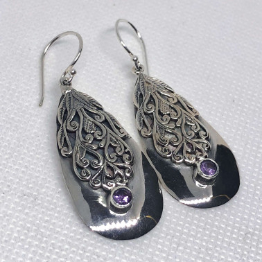 ER 14447 AM-(UNIQUE 925 BALI SILVER FILIGREE EARRINGS WITH AMETHYST)