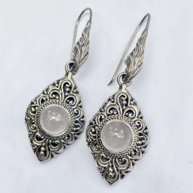 ER 14463 RSQ-(HANDMADE 925 BALI SILVER FILIGREE EARRINGS WITH ROSE QUARTZ)