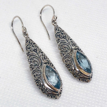 ER 14488 BT-(UNIQUE 925 BALI SILVER FILIGREE EARRINGS WITH TOPAZ)