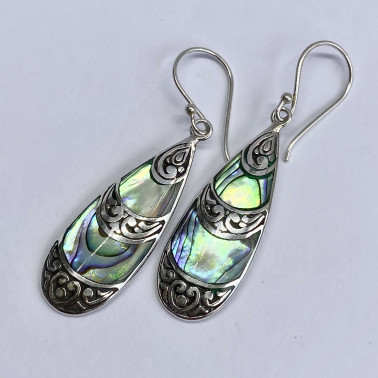 ER 14503 AB-(BALI 925 STERLING SILVER EARRINGS WITH ABALONE)