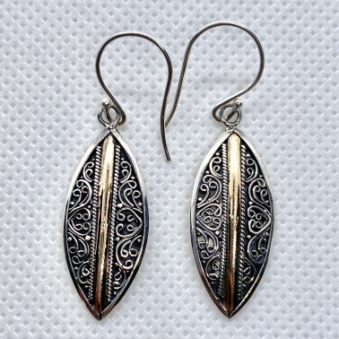 ER 14531-(UNIQUE 925 BALI SILVER EARRINGS WITH 18 KT GOLD ACCENT)