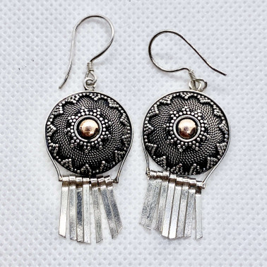 ER 14601-(UNIQUE 925 BALI SILVER EARRINGS WITH 18 KT GOLD ACCENT)