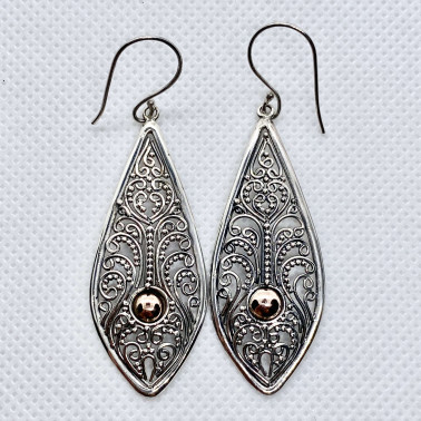 ER 14603-(UNIQUE 925 BALI SILVER FILIGREE EARRINGS WITH 18 KT GOLD ACCENT)