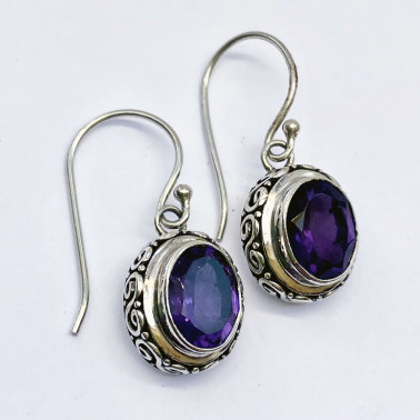 ER 14618 AM-(HANDMADE 925 BALI STERLING SILVER EARRINGS WITH AMETHYST)