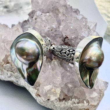 ER 14621 C-(HANDMADE 925 BALI SILVER EARRINGS WITH MABE PEARL SHELL)