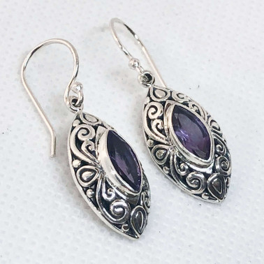 ER 14648 AM-(UNIQUE 925 BALI SILVER FILIGREE  EARRINGS WITH AMETHYST)