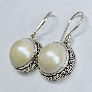 ER 14649 PL-(HANDMADE 925 BALI SILVER FILIGREE EARRINGS WITH PEARL)