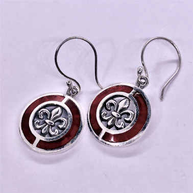 ER 14701 CR-(UNIQUE 925 BALI SILVER EARRINGS WITH RED CORAL)