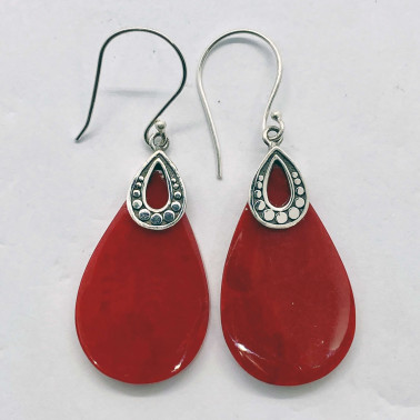 ER 14711 CR-(HANDMADE 925 BALI SILVER ARMADILLO EARRINGS WITH CORAL)