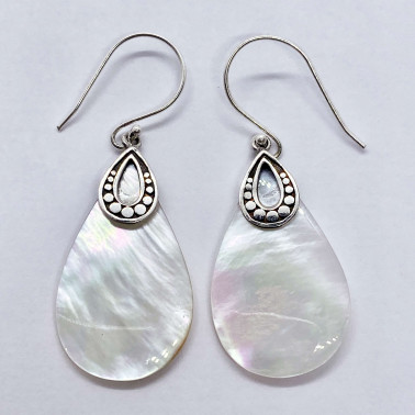 ER 14711 MP-(HANDMADE 925 BALI SILVER ARMADILLO EARRINGS WITH MOTHER OF PEARL)