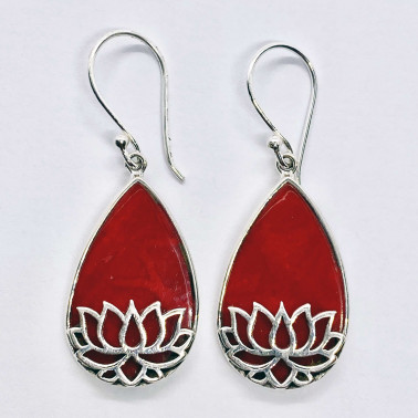 ER 14713 CR-(HANDMADE 925 BALI SILVER LOTUS EARRINGS WITH CORAL)