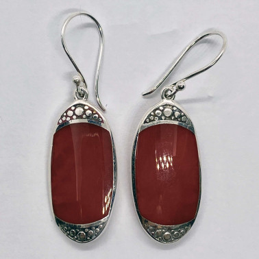 ER 14714 CR-(BALI 925 STERLING SILVER EARRINGS WITH CORAL)