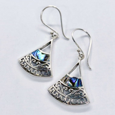 ER 14716 AB-(HANDMADE 925 BALI SILVER EARRINGS WITH  ABALONE)