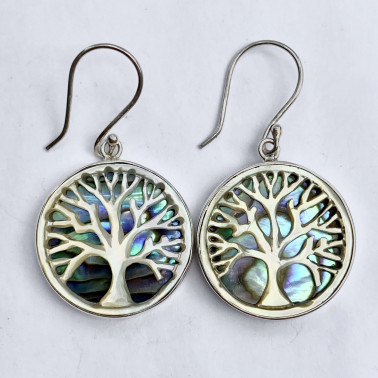 ER 14758 AB-(925 BALI SILVER HAND CARVING TREE OF LIFE SHELL EARRINGS WITH ABALONE)