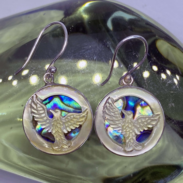 ER 14759 AB-(925 BALI SILVER HAND CARVING EAGLE SHELL EARRINGS WITH ABALONE)