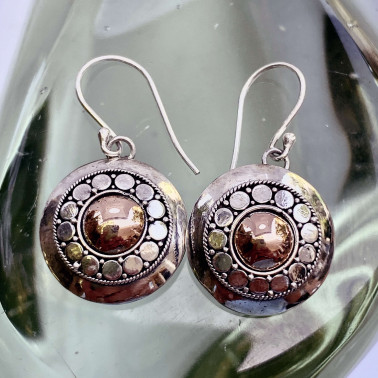 ER 14767 A-(HANDMADE 925 BALI SILVER EARRING WITH 18KT GOLD ACCENT)