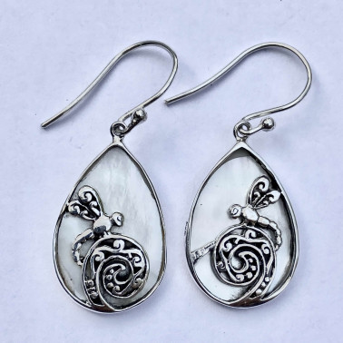 ER 14771 MP-(HANDMADE 925 BALI SILVER DRAGONFLY EARRINGS WITH MOP)
