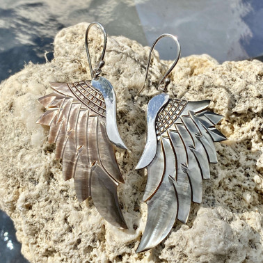 ER 14786 MP-C-(HANDMADE 925 BALI SILVER ANGEL WING EARRINGS WITH CHAMPAGNE MOTHER OF PEARL)