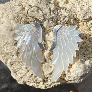ER 14786 MP-W-(HANDMADE 925 BALI SILVER ANGEL WING EARRINGS WITH MOTHER OF PEARL)