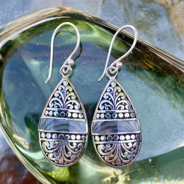 ER 14794 AB-(HANDMADE 925 BALI STERLING SILVER EARRINGS WITH ABALONE)