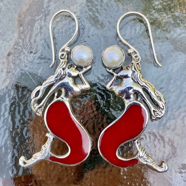 ER 14796 CR-ER 14796 CR-(UNIQUE 925 BALI SILVER MERMAID EARRINGS WITH CORAL)