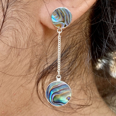 ER 14812 A-AB-(HANDMADE BALI 925 STERLING SILVER DANGLE EARRINGS WITH ABALONE)