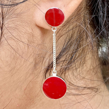 ER 4812 A-CR-(HANDMADE BALI 925 STERLING SILVER DANGLE EARRINGS WITH CORAL)
