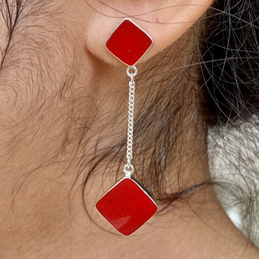 ER 14812 B-CR-(HANDMADE BALI 925 STERLING SILVER DANGLE EARRINGS WITH CORAL)