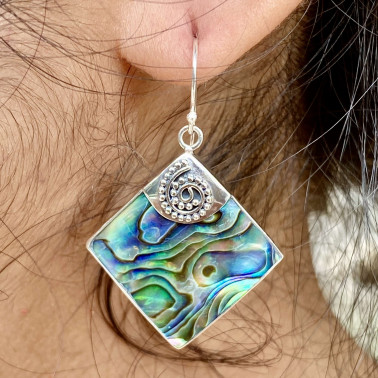 ER 14813 AB-(HANDMADE 925 BALI STERLING SILVER EARRINGS WITH ABALONE)