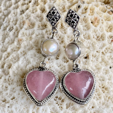ER 14851-(HANDMADE 925 BALI STERLING SILVER EARRINGS WITH RHODOCROSITE)