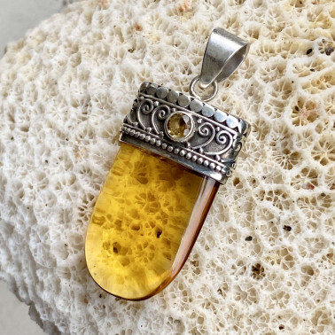 PD 10135 CT-OB-(Handmade 925 Bali Silver Pendant with Citrine and Amber Obsidian Color)
