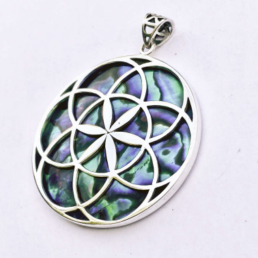 PD 14780 AB-(HANDMADE 925 BALI SILVER PENDANTS WITH ABALONE)