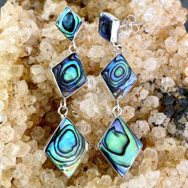 ER 14623 B-AB-(HANDMADE BALI 925 STERLING SILVER EARRINGS WITH ABALONE)