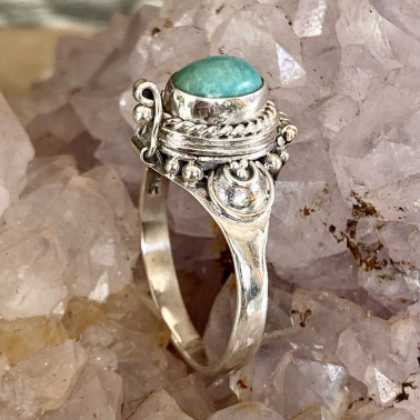 RR 14954 LR-(HANDMADE 925 BALI STERLING SILVER POISON RING WITH LARIMAR)