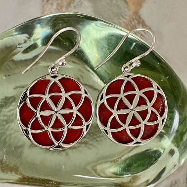 ER 14780 CR-(HANDMADE 925 BALI STERLING SILVER EARRINGS WITH CORAL)