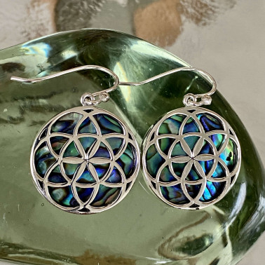 ER 14780 AB-(HANDMADE 925 BALI STERLING SILVER EARRINGS WITH ABALONE)