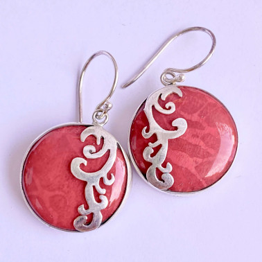 ER 12379 B-CR-(HANDMADE 925 BALI SILVER EARRINGS WITH ROUND CORAL)