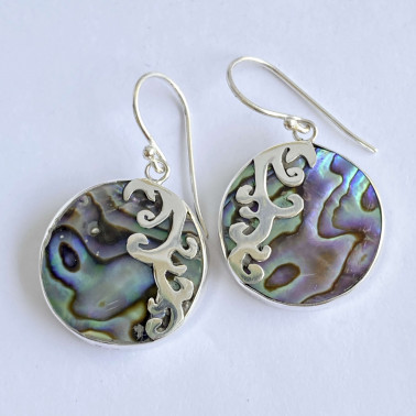 ER 12379 B-AB-(HANDMADE 925 BALI SILVER EARRINGS WITH ROUND ABALONE SHELL)