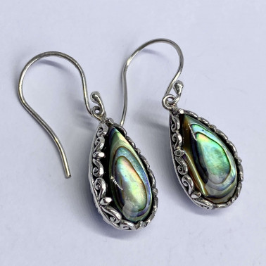 ER 14655 AB-(BALI 925 STERLING SILVER EARRINGS WITH ABALONE)