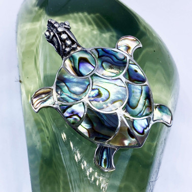 PD 05326 AB-(HANDMADE 925 BALI SILVER TURTLE BROOCH PENDANT WITH ABALONE)