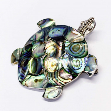 PD 05326 AB-(LARGE 925 BALI SILVER TURTLE BROOCH PENDANT WITH ABALONE)