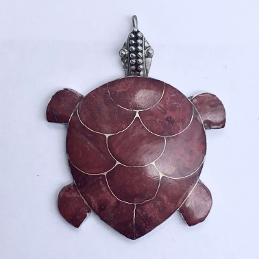 PD 05326 CR-(MEDIUM HANDMADE 925 BALI SILVER TURTLE PENDANT WITH CORAL)