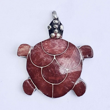 PD 05326 CR-(HANDMADE 925 BALI SILVER TURTLE PENDANT WITH CORAL)