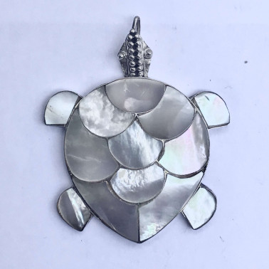 PD 05326 MP-(MEDIUM HANDMADE 925 BALI SILVER TURTLE PENDANT WITH MOP)