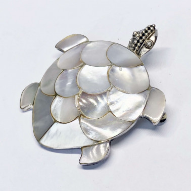 PD 05326 MP-(LARGE 925 BALI SILVER TURTLE BROOCH PENDANT WITH MOTHER OF PEARL)