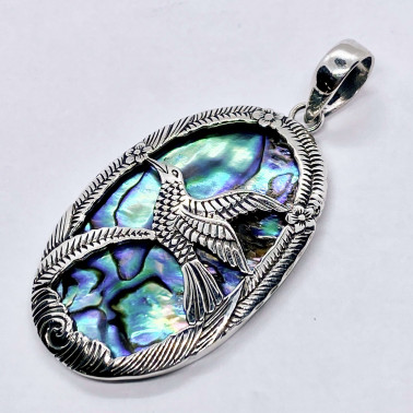 PD 07244 AB-(HANDMADE 925 BALI SILVER PENDANT WITH ABALONE)