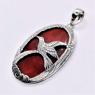 PD 07244 CR-(HANDMADE 925 BALI SILVER BIRD PENDANT WITH CORAL)
