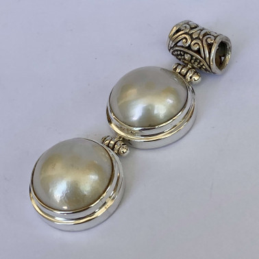 PD 07456 WPL-(HANDMADE 925 BALI SILVER PENDANT WITH MABE PEARL)
