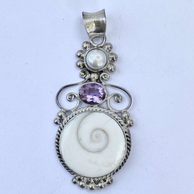 PD 07624 SW-AM-(HANDMADE 925 BALI SILVER PENDANT WITH SHIVA EYES SHELL, AMETHYST AND PEARL)